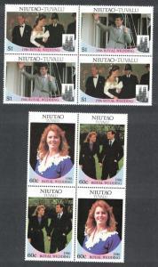 Tuvalu Niutao Royal Wedding Prince Andrew 4v Cross-blocks 1986 MNH SC#63-64