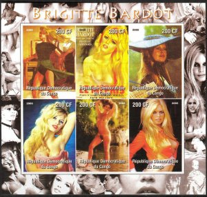 Congo 2005 Cinema Brigitte Bardot Sheet of 6 Imperf. MNH Cinderella !