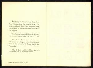 KENYA UGANDA AND TANGANYIKA 1954-55 PO PRESENTATION FOLDER Set to 1POUND MLH