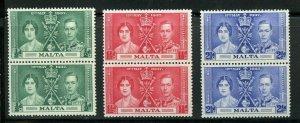 MALTA CORONATION OF GEORGE VI 1937 SC# 188-90 MINT NH PAIRS AS SHOWN