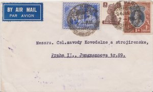 India 3 1/2a KGVI Victory and 4a and 1R KGVI 1947 Vile Parle Airmail to Pragu...
