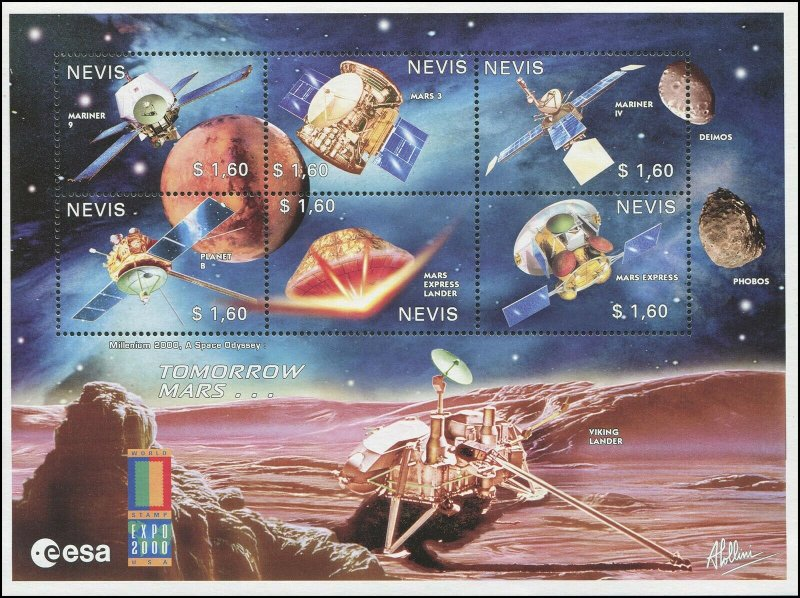 Nevis MNH S/S 1213 Space Mars Lander Viking 2000