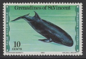 GRENADINES OF ST.VINCENT SG163w 1980 WHALES AND DOLPHINS MNH