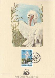 WWF233) WWF Greeting Card embossed with WWF Panda, with stamp, Pelikan, Romania,