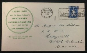 1945 Limerick Ireland First Day Cover FDC To Canada Thomas Davis Centenary