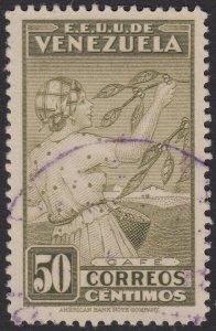 Venezuela 1938 50c Olive Green. Fine Used. Scott 337, SG 514