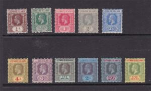 Leeward Islands 1912 KGV Sc 46-50,52-57 MH