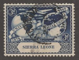 Sierra Leone, Scott# 191, airplane, globes, postal union, surb centering, #M488