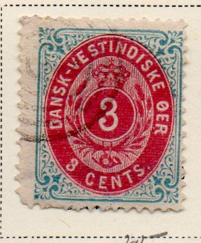 Danish West Indies Sc 6 1874 3c blue & carmine stamp used