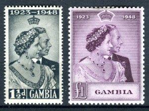 Gambia 1948 KGVI. Silver Wedding set of 2. Mint. LH. SG164/165.