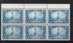 Canada #227 Very Fine Never Hinged Plate #1 Upper Block Of Six