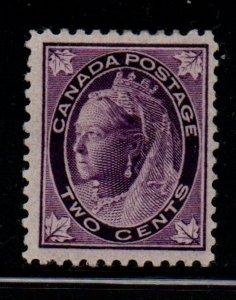 Canada Sc 68 1897 2c purple Victoria Maple Leaf stamp mint