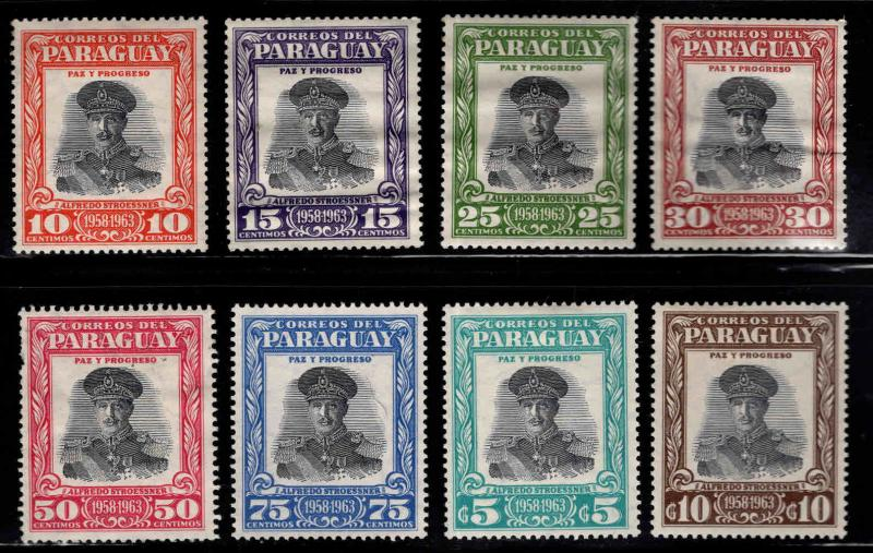 Paraguay Scott 537-544 MH* regular mail set