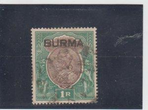 Burma  Scott#  13  Used  (1937 Overprinted)