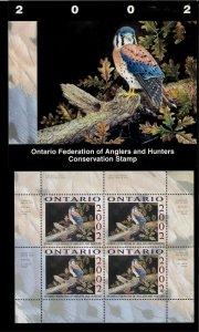 ONTARIO #10M 2002 AMERICAN KESTRAL CONSERVATION STAMP MINI SHEET OF 4 IN FOLDER