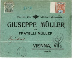 Seychelles 1910 registered cover to Austria, franked SG 5, Die I, 400 pounds