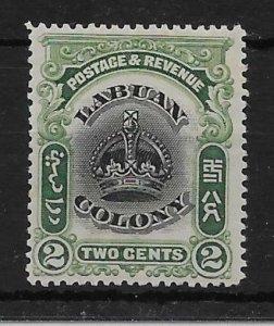 LABUAN SG118a 1902 2c BLACK & GREEN p14½-15 MTD MINT