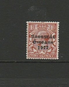 Ireland 1922/3 Opt on GB, 1 1/2d Long 1 to 1922, MM SG 69a
