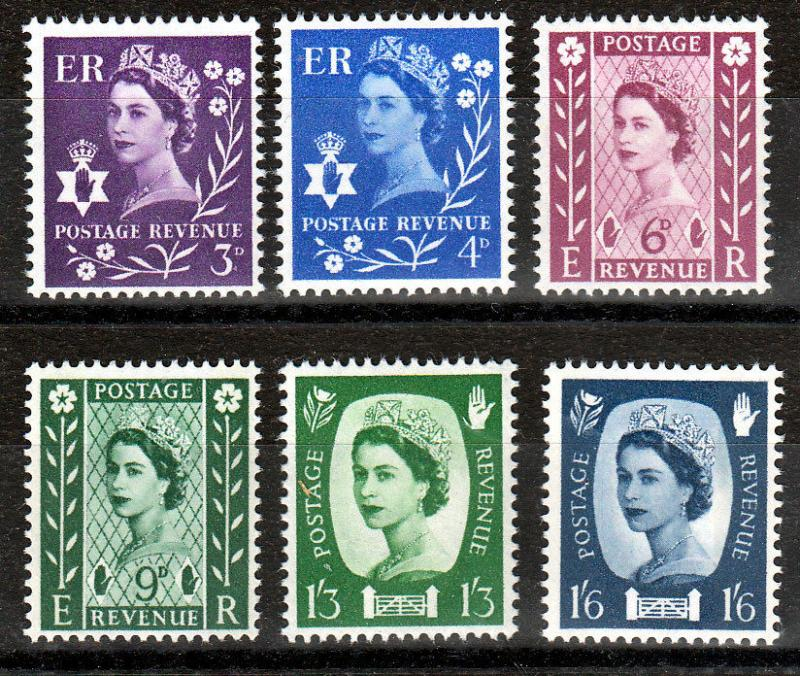 GB QEII Northern Ireland 1958 Definitives Lightly Hinged SG NI1/NI6