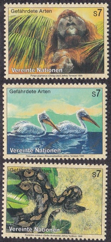 United Nations Vienna MNH 253-5 Orangutan Pelican Anaconda