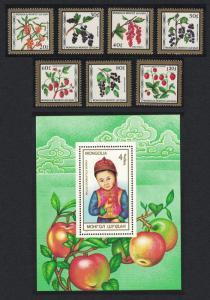 Mongolia Fruits 7v+MS SG#1849-MS1856