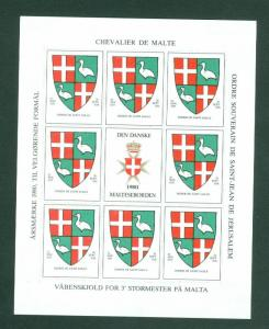 Denmark. Poster Stamp Sheet MH 1980. Danish Maltese,Souverain Order.Coats,Arms.