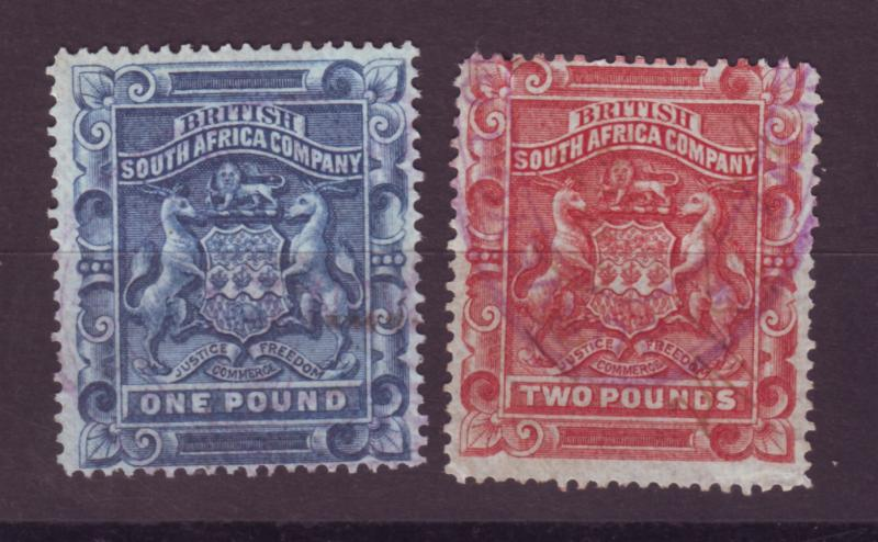 J17047 JLstamps 1890-4 rhodesia used #16-7 coat of arms revenue cancels