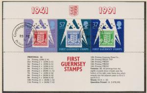 Guernsey 1991 cancelled anniversary stamps  sheet    C