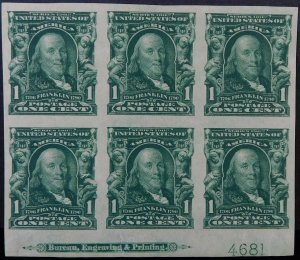 USA #314 PLATE BLOCK OF 6 MLH XF