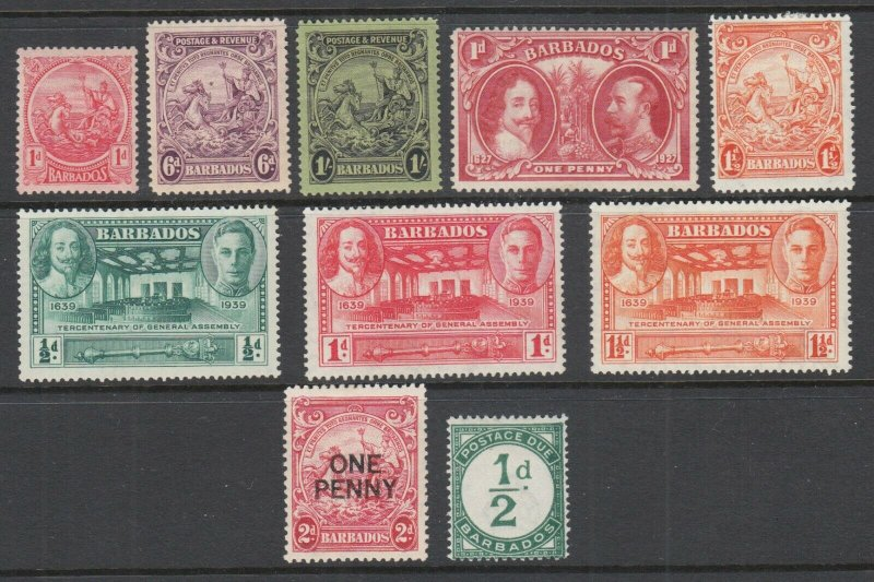 Barbados Sc 154/J1 MLH. 1921-35 issues, 10 different early singles, fresh, F-VF