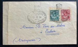 1934 Northern Rhodesia Royal Tour Prince George Cover To Madagascar