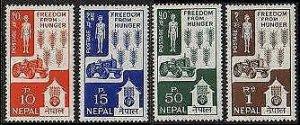 HERRICKSTAMP NEPAL Sc.# 159-62 FAO Freedom From Hunger