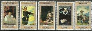 YEMEN 1967 FIVE ART MASTERWORKS on Jumbo Stamps WYSIWYG Lot