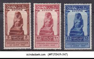 EGYPT - 1927 STATISTICAL CONGRESS CAIRO SCOTT#150-152 - 3V - MINT HINGED