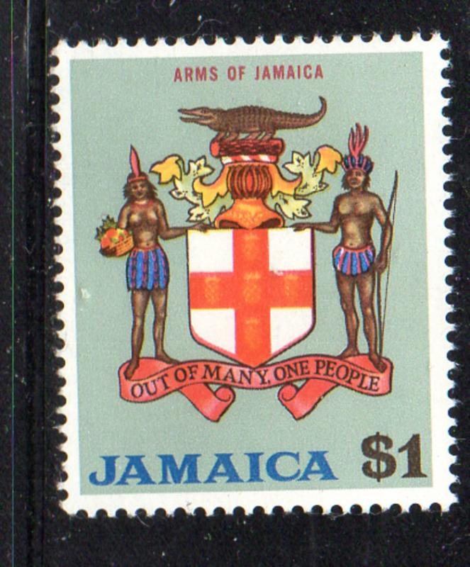 Jamaica Sc 317 1970 $1 Coat of Arms stamp mint NH