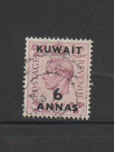 KUWAIT #78  1948  6a on 6p KING GEORGE VI SURCHARGED   F-VF  USED  d