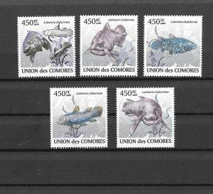 Comoro Islands MNH Set Of 5 Fish 2009