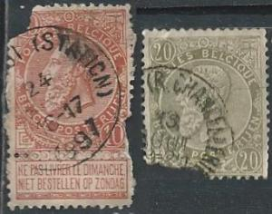 Belgium 65 & 67 (used, maltreated fillers) 10c & 20c King Leopold II (1893)