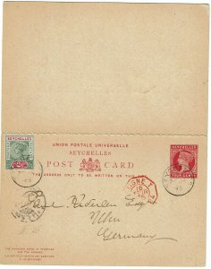 Seychelles 1895 cancel on postal reply card to Germany, French maritime cancel