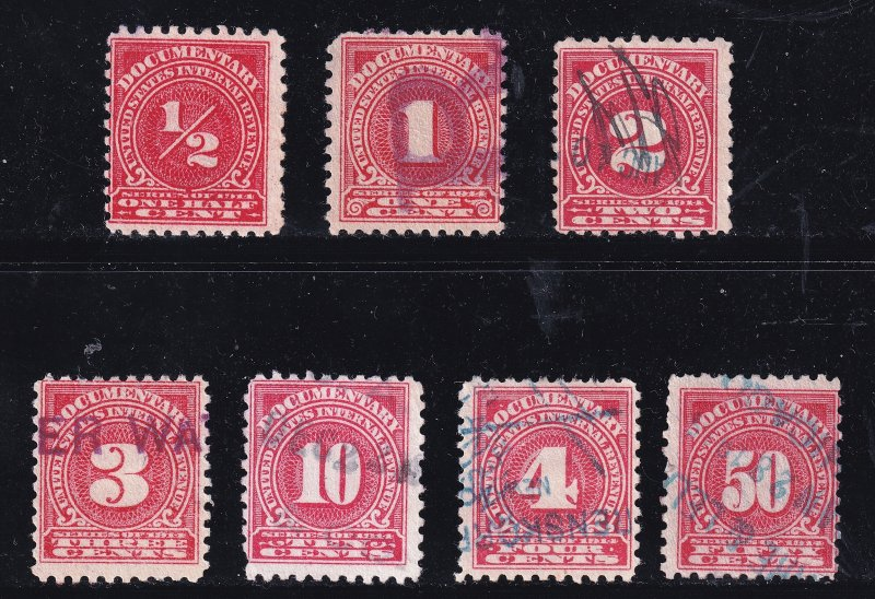 US STAMP REVENUE 1914 DLWM DOCUMENTARY USED STAMPS LOT