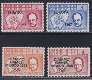Isle of Man - Calf of Man, Local Issue -2 sets, Europa 1967 & Olympics Hinged.