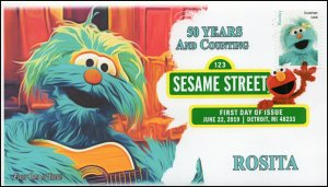 19-164, 2019, Sesame Street, Digital Color Postmark, FDC, Rosita, 50 Years