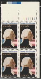 USA Plate block, Scott#1952, MNH, block of four, Washington, President,