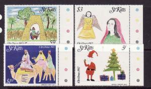 St. Kitts-Sc#102-5-unused NH set-Christmas-Children's Drawings-1982-