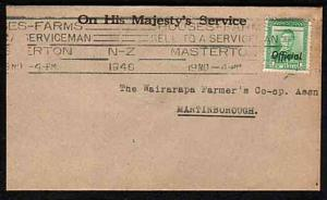 NEW ZEALAND 1946 small OHMS cover, GVI 1d OFFICIAL, Masterton pmk..........33530