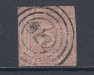 Thurn & Taxis Sc 13 used 1859 5sgr lilac imperf Numeral, sound & scarce