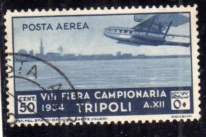 LIBIA 1932 SESTA 6 FIERA DI TRIPOLI 6th FAIR POSTA AEREA AIR MAIL CENT. 50 C ...
