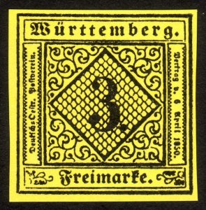 1851, Germany Wurttemberg 3Kr, MNG, Sc 2, FORGERY / REPRINT