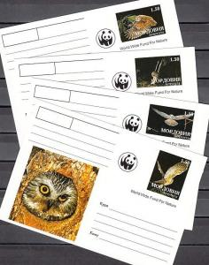 Udmurtia, 1999 Russian Local. Owls, W.W.F. issue on 4 Postal cards. ^
