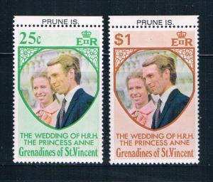 St Vincent - Grenadines 1-2 MNH set Prin Ann wed Pune Is 1973 (S0911)